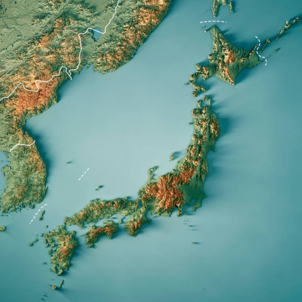 日本 3 d レンダリング地形マップの枠線 - 日本 地図 ストックフォトと画像