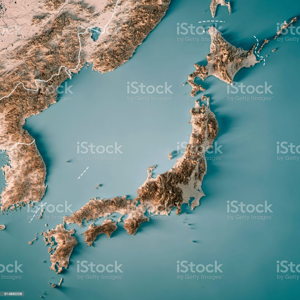Aerial Map Of Japan.Japan 3d Render Topographic Map Neutral Border Stock Photo More