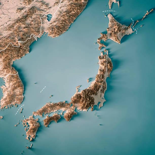 日本 3 d レンダリング地形図中立的な境界線 - 日本 地図 ストックフォトと画像