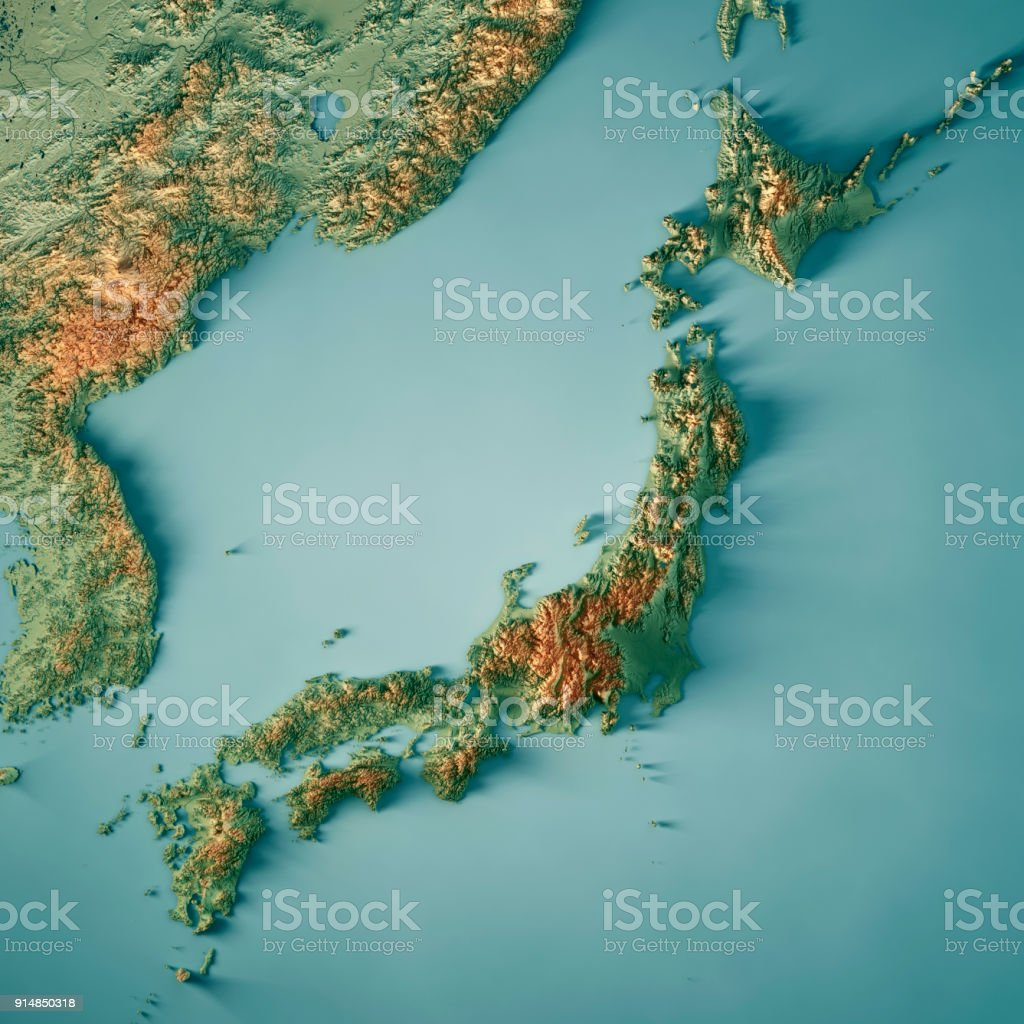 Aerial Map Of Japan.Japan 3d Render Topographic Map Stock Photo More Pictures Of
