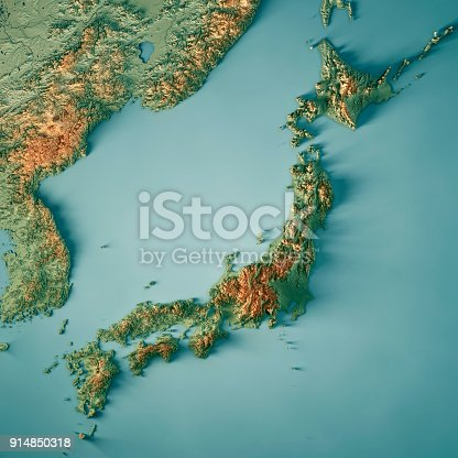 3D Render of a Topographic Map of Japan. All source data is in the public domain. Color texture: Made with Natural Earth.  http://www.naturalearthdata.com/downloads/10m-raster-data/10m-cross-blend-hypso/ Boundaries Level 0: Humanitarian Information Unit HIU, U.S. Department of State (database: LSIB) http://geonode.state.gov/layers/geonode%3ALSIB7a_Gen Relief texture and Rivers: SRTM data courtesy of USGS. URL of source image:  https://e4ftl01.cr.usgs.gov//MODV6_Dal_D/SRTM/SRTMGL1.003/2000.02.11/ Water texture: SRTM Water Body SWDB: https://dds.cr.usgs.gov/srtm/version2_1/SWBD/