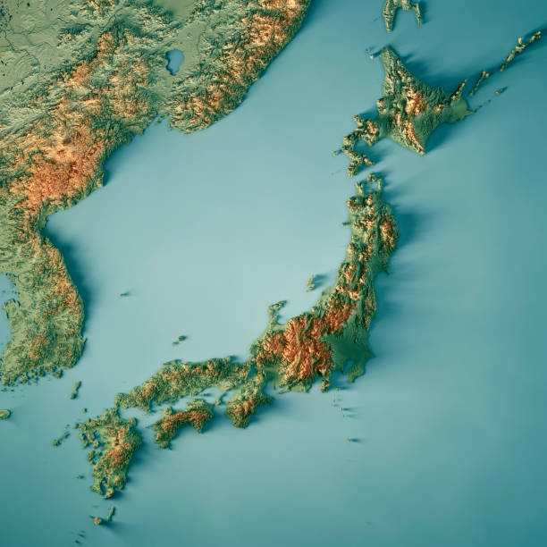 Japan 3D Render Topographic Map 3D Render of a Topographic Map of Japan. All source data is in the public domain. Color texture: Made with Natural Earth.  http://www.naturalearthdata.com/downloads/10m-raster-data/10m-cross-blend-hypso/ Boundaries Level 0: Humanitarian Information Unit HIU, U.S. Department of State (database: LSIB) http://geonode.state.gov/layers/geonode%3ALSIB7a_Gen Relief texture and Rivers: SRTM data courtesy of USGS. URL of source image:  https://e4ftl01.cr.usgs.gov//MODV6_Dal_D/SRTM/SRTMGL1.003/2000.02.11/ Water texture: SRTM Water Body SWDB: https://dds.cr.usgs.gov/srtm/version2_1/SWBD/ land feature stock pictures, royalty-free photos & images