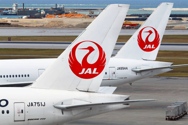 JAL - Japan Airlines aircraft tails stock photo
