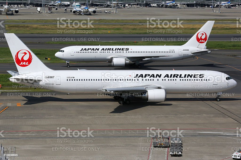 Japan Airlines Boeing 767-300 at Tokyo Haneda airport stock photo