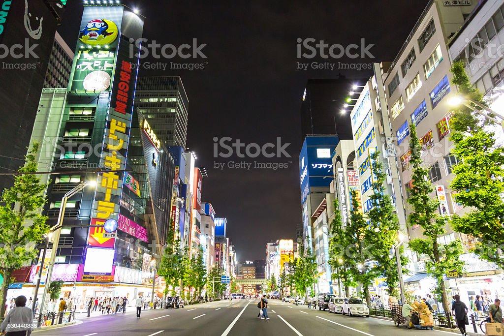 Japan Akihabara night view stock photo
