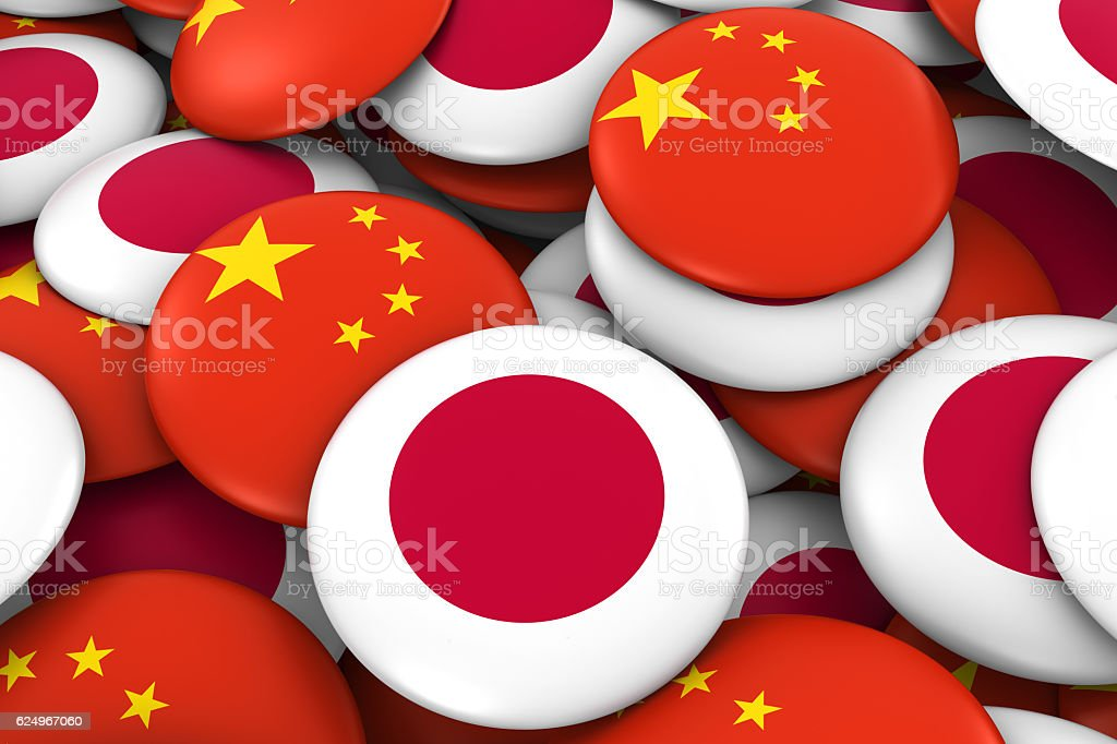 Japan and China Flag Badges Background - foto de stock