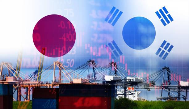 日韓貿易戦争ホワイトリスト経済紛争税-日本はボイコットを宣言する韓国の商品輸出を宣言する技術ビジネス株式市場チャート - 韓国 ストックフォトと画像