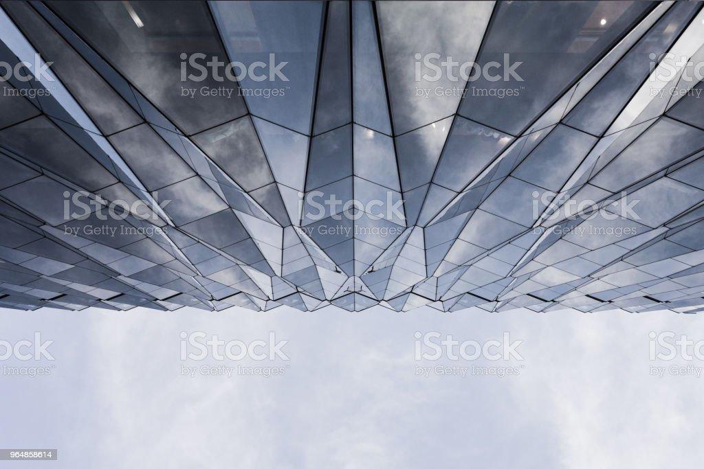 japan blue sky geometry window buildings glass royalty-free stock photo