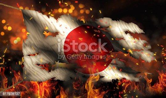 istock Japan Burning Fire Flag War Conflict Night 3D 517928137