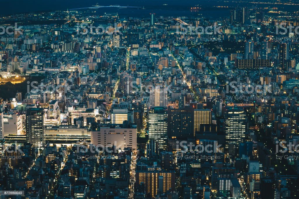 Japan capital Tokyo City Skyline as seen from above at night stock photo