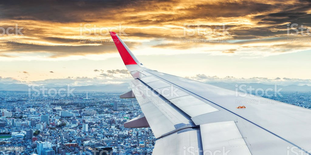 Japan Cityscape View from Airplane Window stock photo