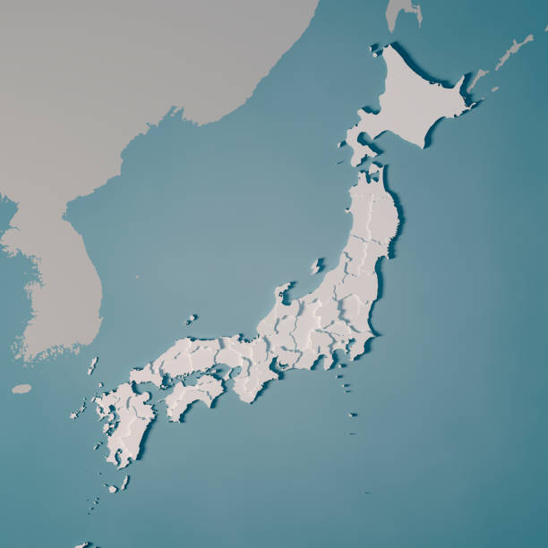Japan Country Map Administrative Divisions 3D Render stock photo