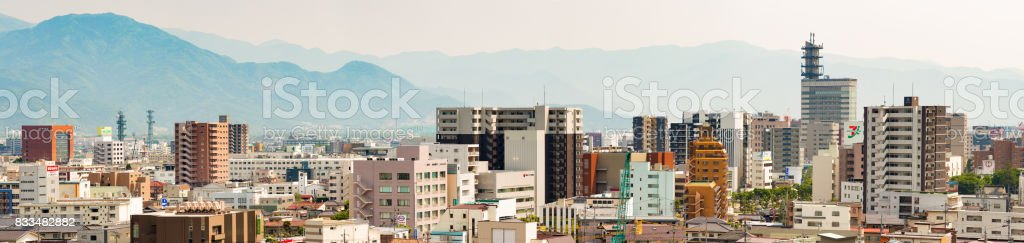 Japan Downtown Nagano Panoramic aerial view daytime sunny day stock photo