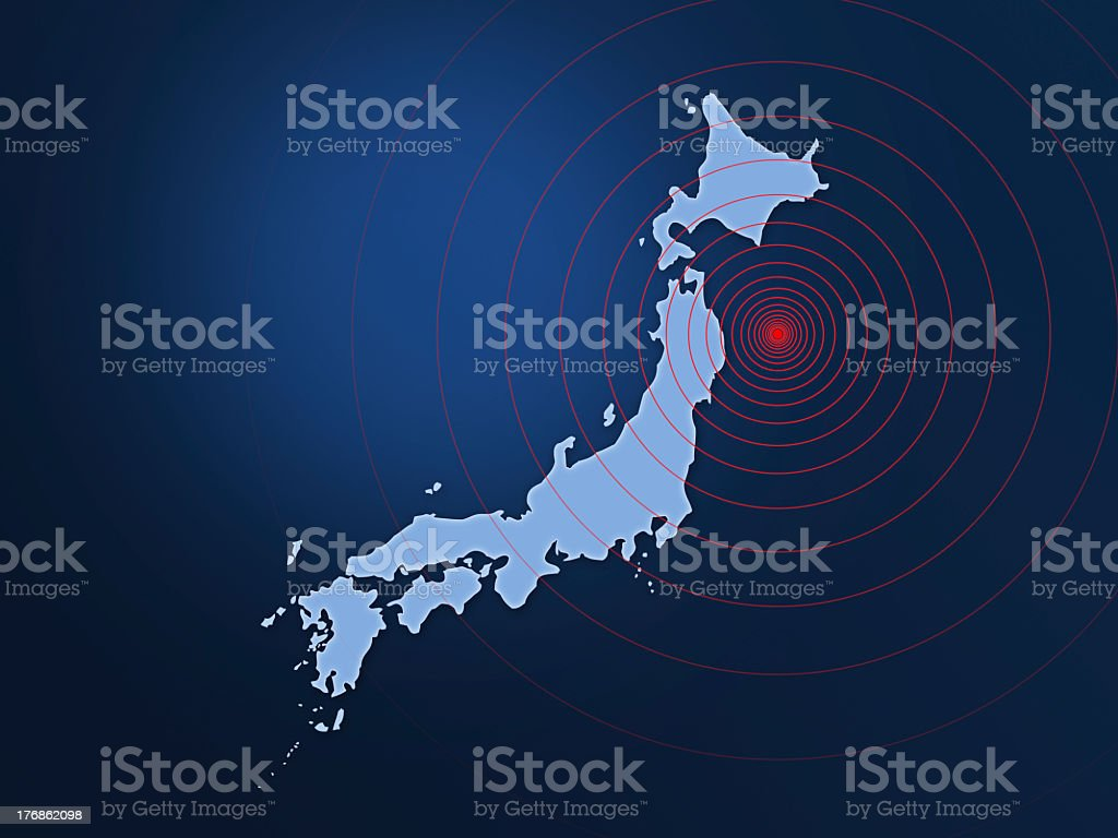 Japan earthquake disaster in 2011 with sonar stock photo