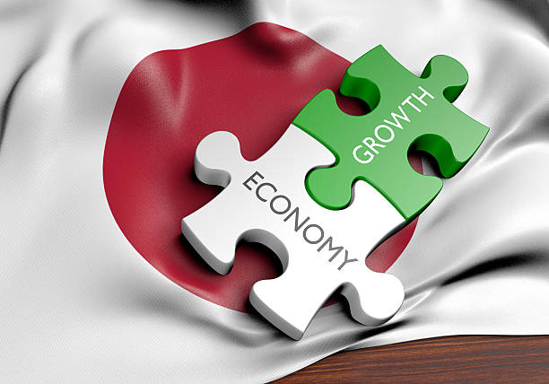 Japan economy and financial market growth concept, 3D rendering stock photo