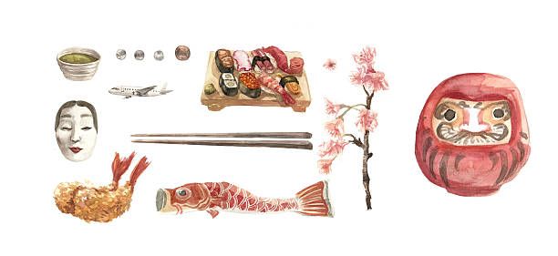 Japan elements in watercolor illustration with clipping path stock photo