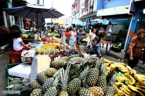 salvador, bahia / brazil - december 27, 2016: pineapples for sale at the Japan Fair in the Liberdade neighborhood of Salvador.