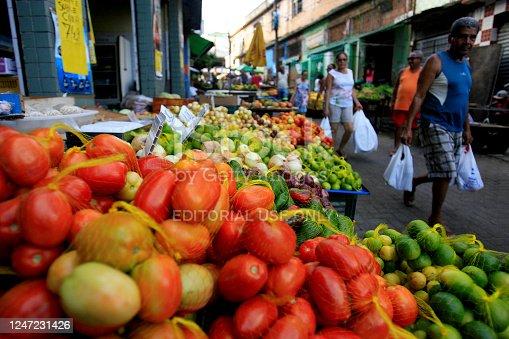 salvador, bahia / brazil - december 27, 2016: tomatoes for sale at the Japan Fair in the Liberdade neighborhood of Salvador.