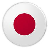 Japan Flag Button, News Concept Badge, 3d illustration on white background