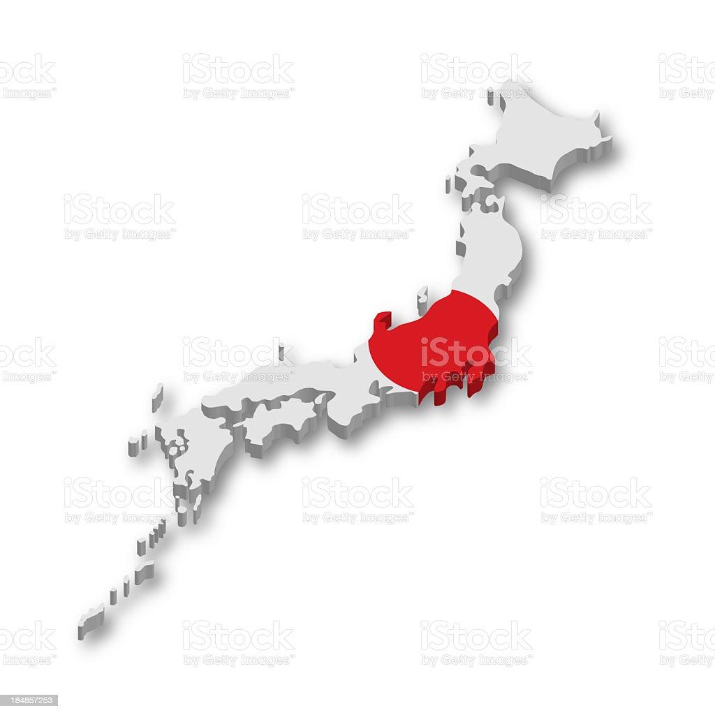 3 D Mapa da bandeira do Japão - foto de acervo