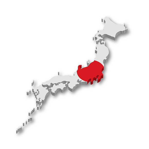 日本の国旗の 3 d マップ - 日本 地図 ストックフォトと画像