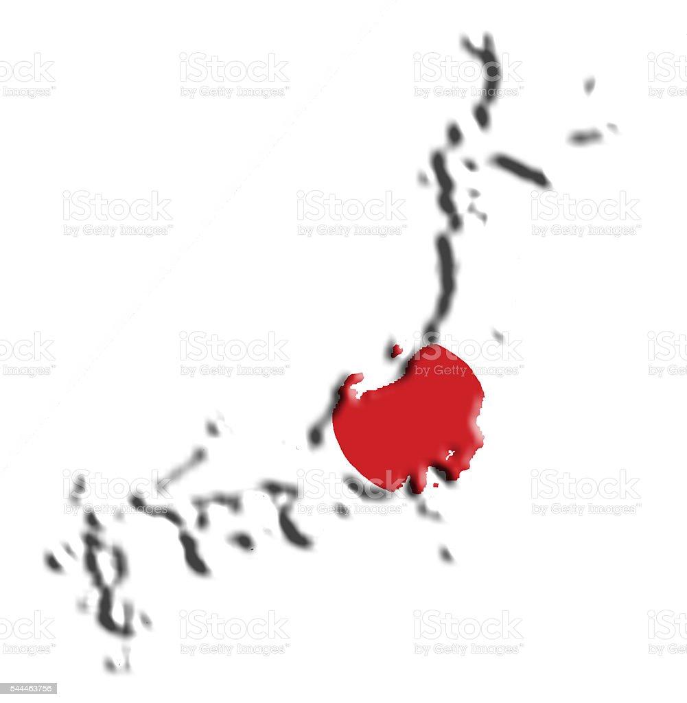 Japan Flag Map Stock Photo IStock - Japan map flag