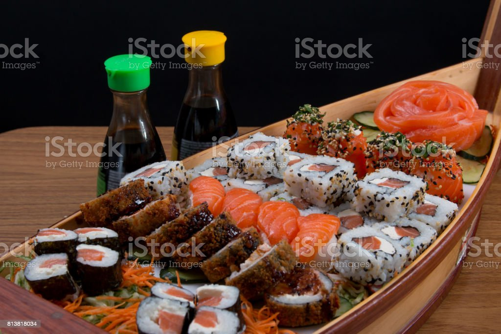 japan food boat stock photo