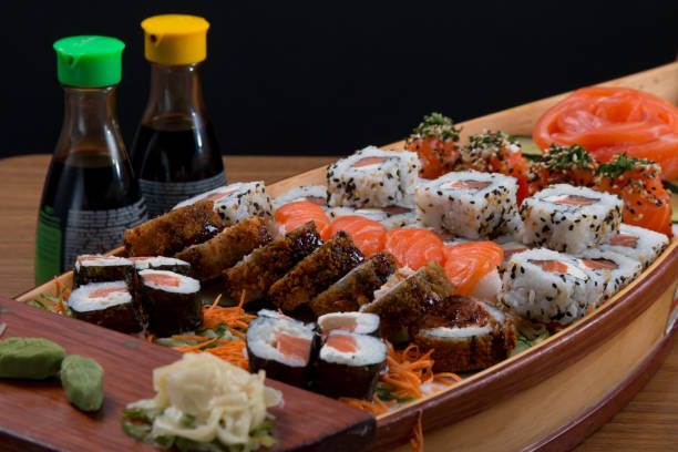japan food boat - japanese food stock photos and pictures