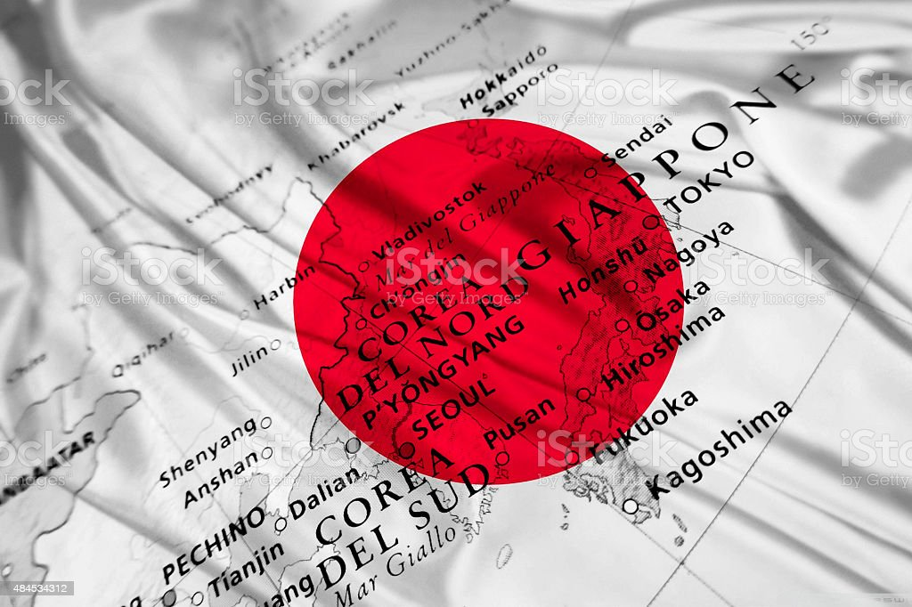 Japan geographical view with national flag stock photo