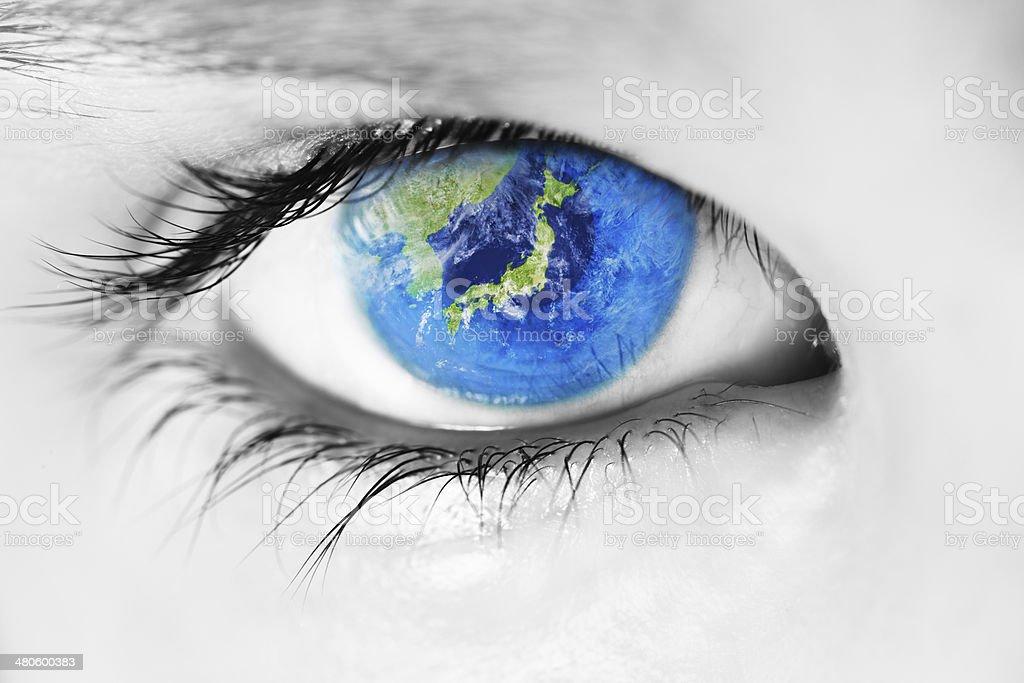 Japan in the eye stock photo