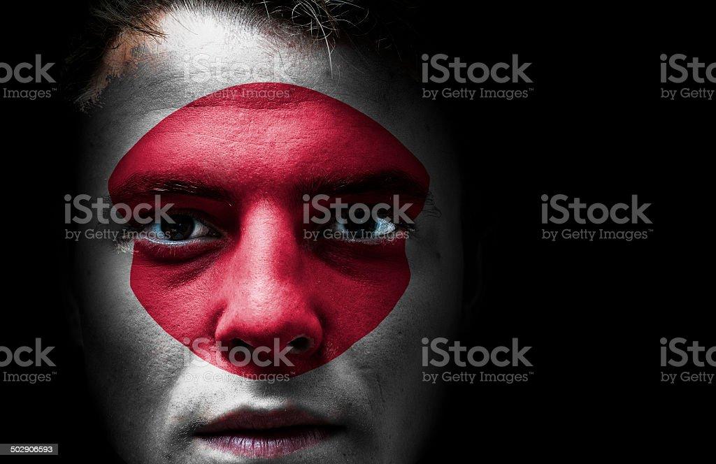 Japan. Japanese flag on face royalty-free stock photo