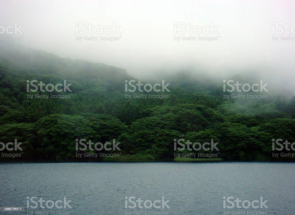 Japan: Lake Ashi (Ashinoko) with Low-Lying Clouds stock photo