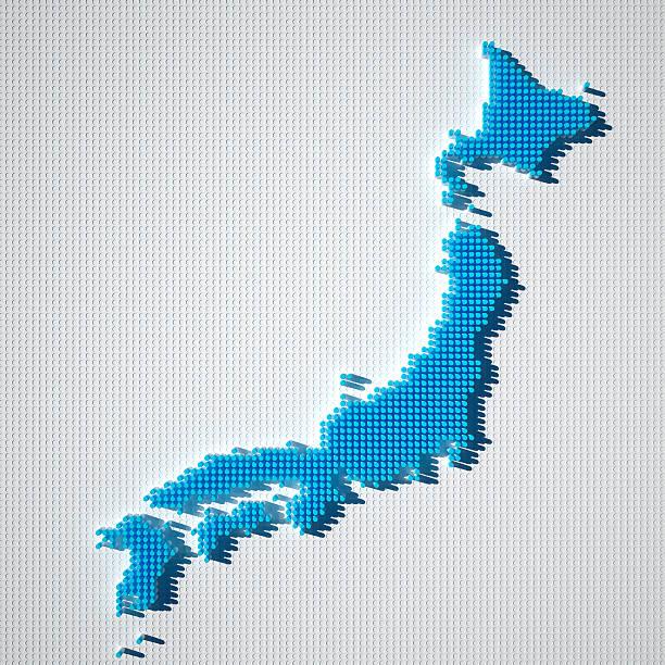 日本地図ブルーのドットパターン 3 d - 日本 地図 ストックフォトと画像