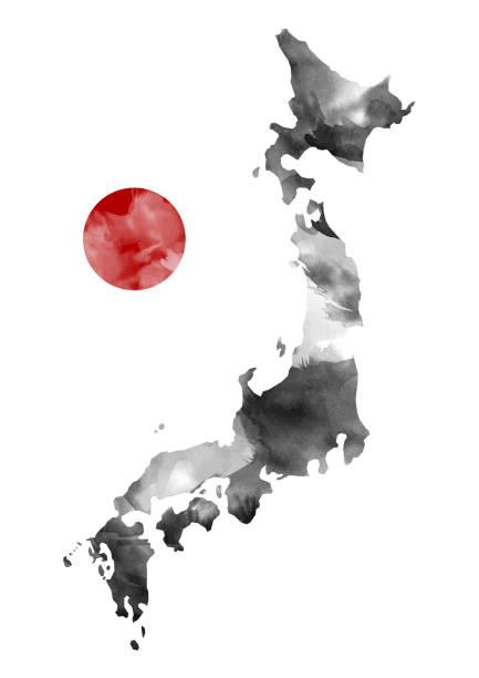Japão mapa tinta tinta - foto de acervo