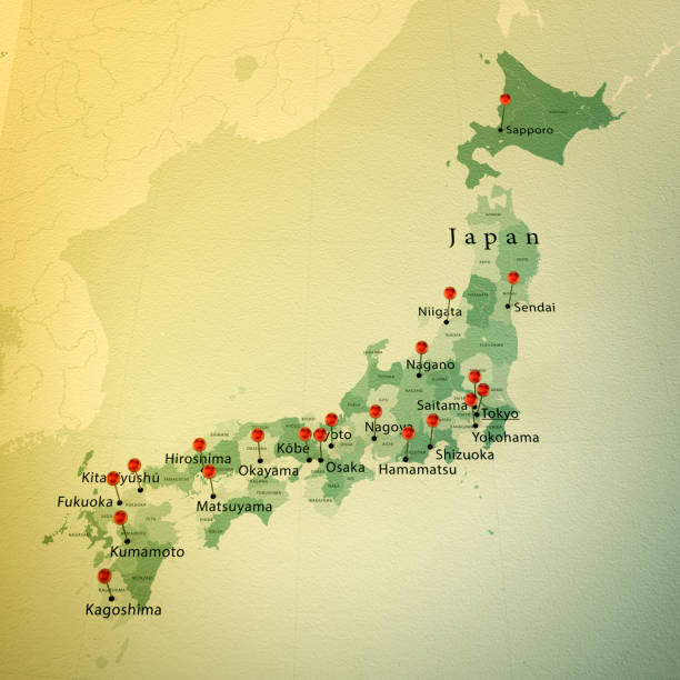 日本地図の広場都市まっすぐなピン ヴィンテージ - 日本 地図 ストックフォトと画像