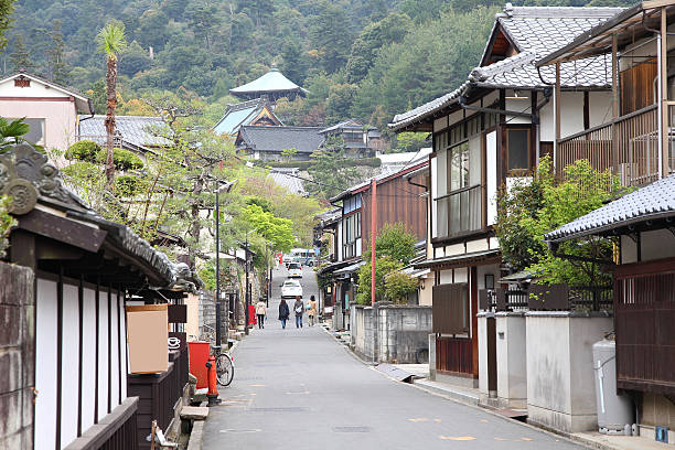 Japan - Miyajima Japan - island Miyajima in Hatsukaichi (Hiroshima prefecture, region Chugoku). miyajima stock pictures, royalty-free photos & images