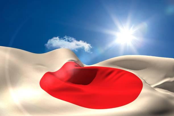 Bandera Nacional de Japón bajo cielo soleado - foto de stock