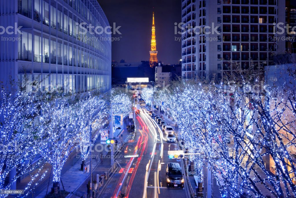 Tokyo Tower and Christmas street light up from Roppongi.