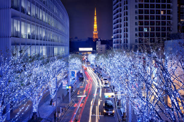 japan-nacht-szene-stadtbild-serie - weihnachten japan stock-fotos und bilder