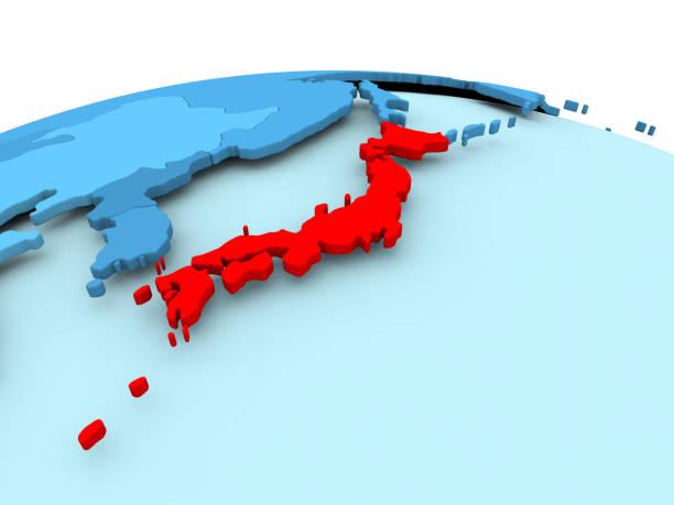 青の政治世界を日本します。 - 日本 地図 ストックフォトと画像
