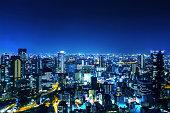 日本に大阪の夜のパノラマ