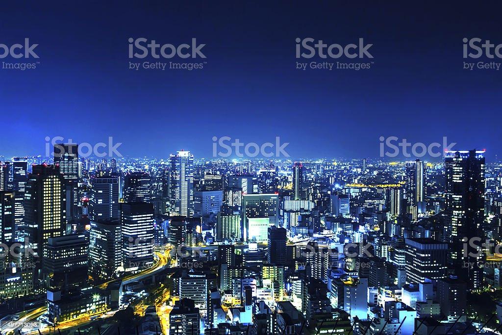 Japan Osaka night panorama stock photo