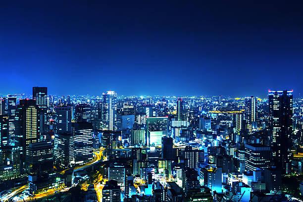 日本に大阪の夜のパノラマ ストックフォト