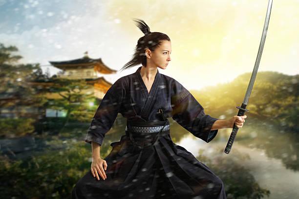 japón collage de samurai - ninja fotografías e imágenes de stock
