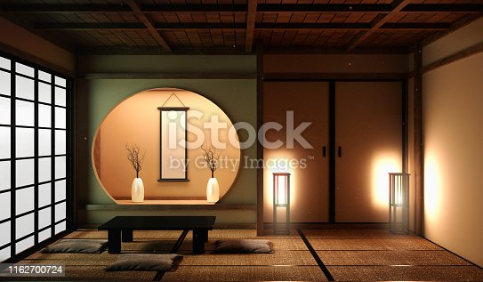 istock Japan style living area in luxury room or hotel japanese style decoration.3D rendering 1162700724