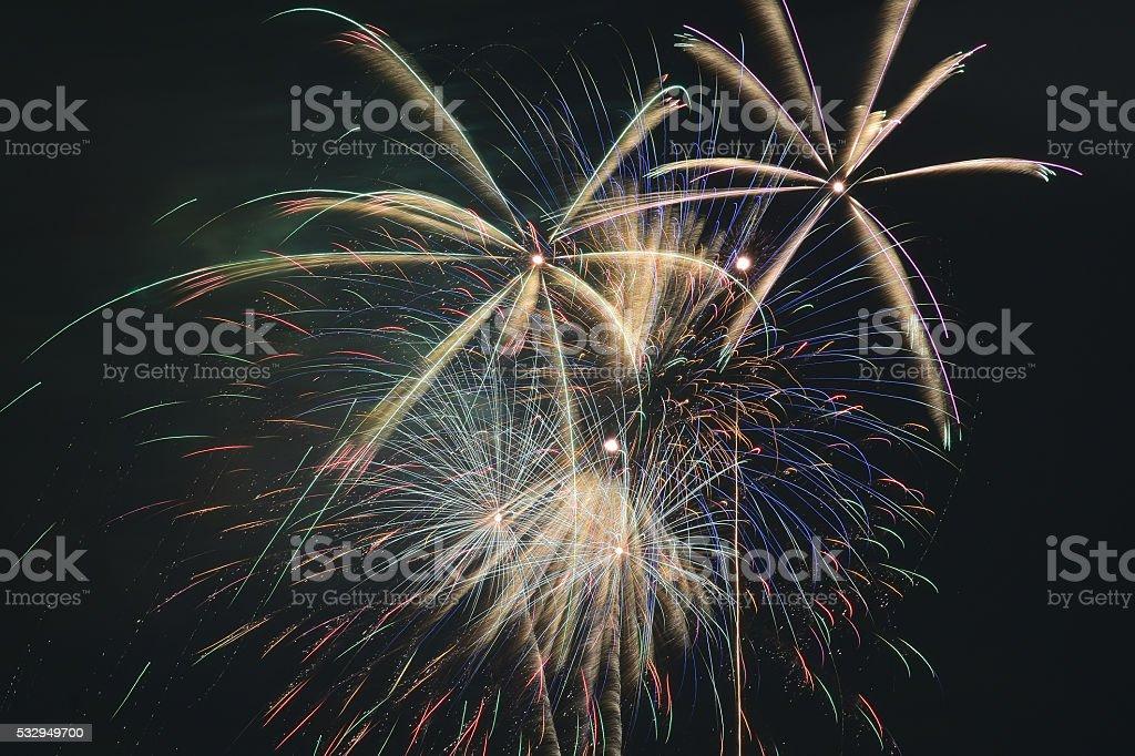 Japan Summer Fireworks Festival Background stock photo