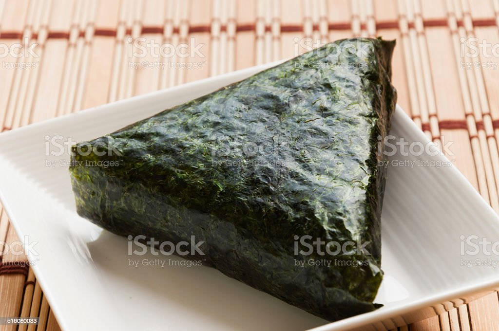 Japan traditional rice ball with salmon stock photo