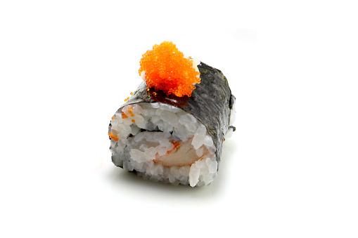 Japan Traditionele Sushi Op Isloted Witte Achtergrond Stockfoto en meer beelden van Avocado