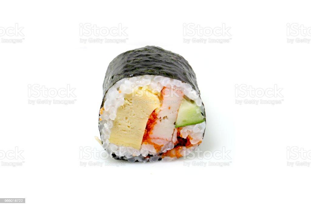 Japan traditionell sushi på isloted vit bakgrund - Royaltyfri Aperitif - Måltid Bildbanksbilder