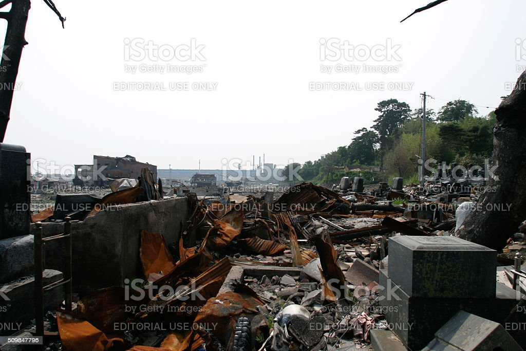 Japan Tsunami Earthquake 2011 Ishinomaki city destruction stock photo
